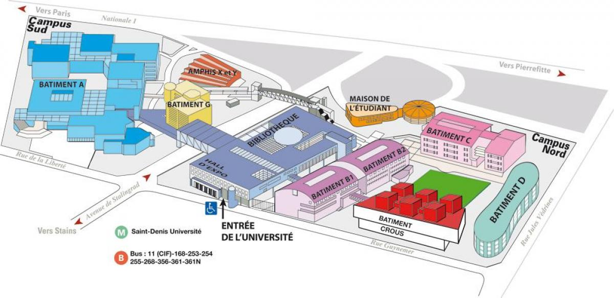 Plan de l'université Paris 8
